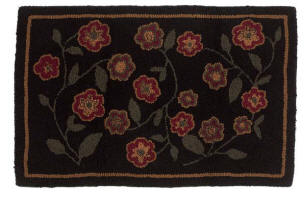 Red Flowers Rug Hooked Wool