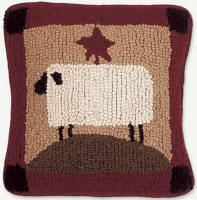Sheep Pillow Hooked Wool