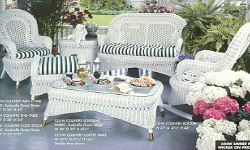 Country Porch Group, wicker rocker, love seat, end tables and glass top coffee table