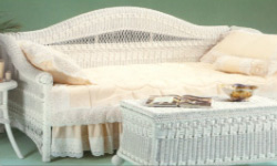 Wicker daybed and blanket chest