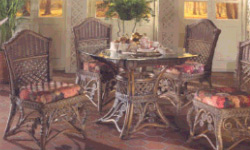"Gazebo Dinette set - 42"" and 48"" glass top wicker table with chairs"
